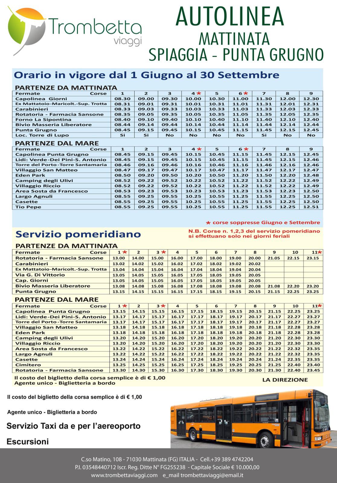 """Servizio Bus """"Mattinata-Spiaggia-Punta Grugno"""""""